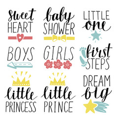 set of 9 children logo with handwriting little vector image