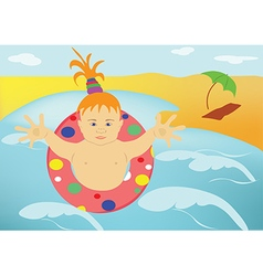The child sea beach vector image