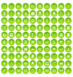 100 archeology icons set green circle vector