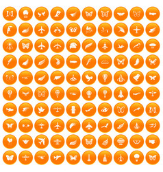 100 fly icons set orange vector