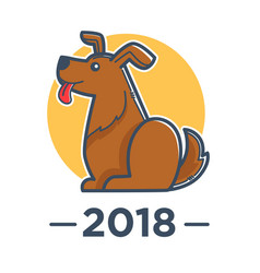 2018 year of dog according to chinese calendar vector