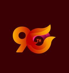 90 th anniversary celebrations orange template vector