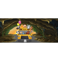 A bus full of animals inside the cave vector