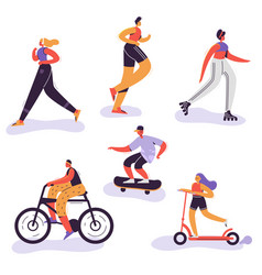 Active people exercising outdoor activity running vector