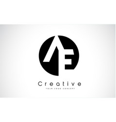 Ae letter logo design inside a black circle vector