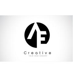Ae letter logo design inside a black circle vector