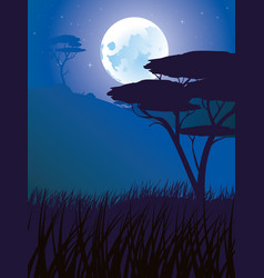 african night landscape vector image
