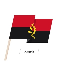Angola Ribbon Waving Flag Isolated on White vector