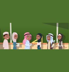 Arab school children group pupils standing vector