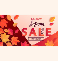 autumn sale banner on geometric background vector image