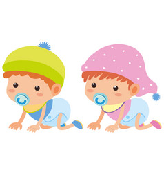 baby boy and girl crawling vector image