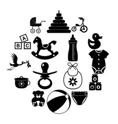 baby simple icon set vector image
