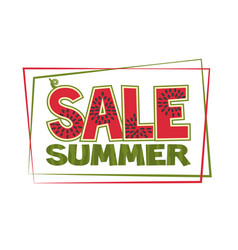 banner with a watermelon inscription summer sale vector image