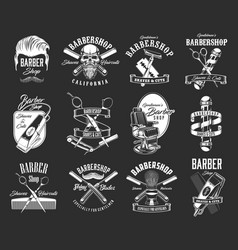 barbershop and haircut icons hipster retro signs vector image