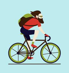 Bicycle delivery messenger bearded male character vector