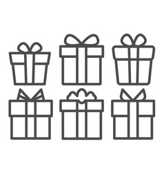 black line gifts icons set line vector image