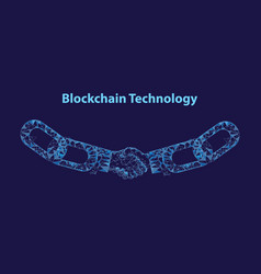 blockchain digital technology handshake vector image