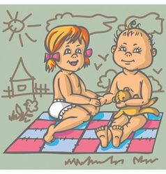 Boy and girl on mat vector