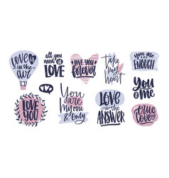 bundle of trendy valentine s day lettering vector image