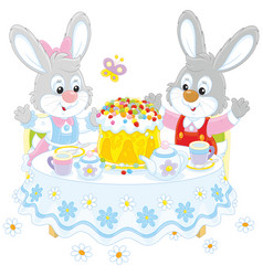 Bunnies with an easter cake vector