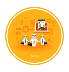 Businessmen with cases go on a meeting vector image