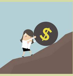 businesswoman pushing a money burden up hill vector image