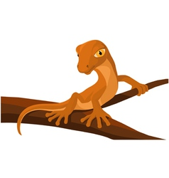 Cartoon lizard on a branch vector