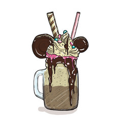 cartoon style milkshake with cookies chocolate ice vector image