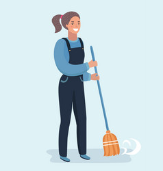 Character cleaner lady or janitor woman vector