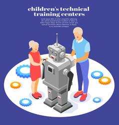 Children technical training background vector