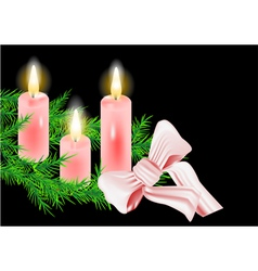 christmas wreath and candle vector image