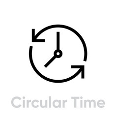 circular time icon editable outline vector image