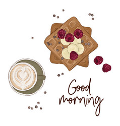 coffee with belgian waffles and fruits vector image