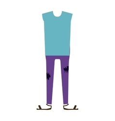 color silhouette with male clothing pijama vector image