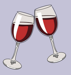 colored continuous line drawing glasses wine vector image