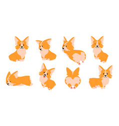 corgi cartoon cute dog characters in different vector image
