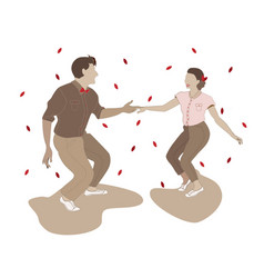 Couple man and woman dancing lindy hop vector