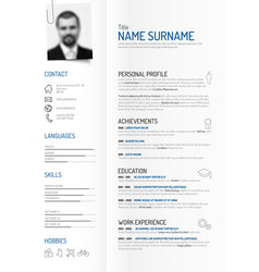 Creative minimalist cv resume template vector