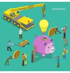 Crowdfunding flat isometric concept vector