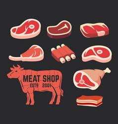 Cut beef set vector