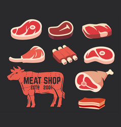 Cut of beef set vector