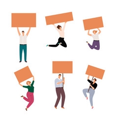 demonstration people with posters vector image