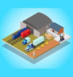 Depot concept banner isometric style vector