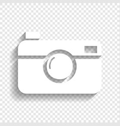digital photo camera sign white icon with vector image