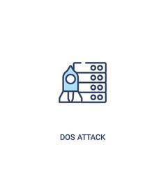 Dos attack concept 2 colored icon simple line vector