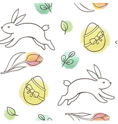Easter seamless pattern with rabbit and eggs vector