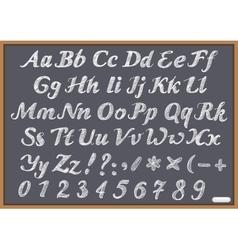 English alphabet letter Latin on chalk Blackboard vector image