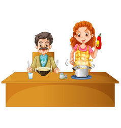 Father and mother having meal on the table vector
