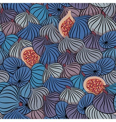 Fig Seamless pattern with half and whole fruit vector