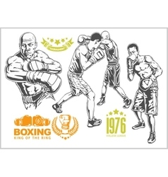Fight between two boxers - set of monochrome vector